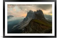Seceda Italy dolomites, Framed Mounted Print