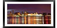 Liverpool Skyline Reflections from Woodside Panora, Framed Mounted Print