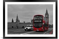 Red Bus and Big Ben, Framed Mounted Print