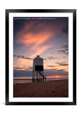 Burnham on Sea Lighthouse at sunset, Framed Mounted Print