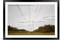 Power Lines Leading To The Horizon, Framed Mounted Print