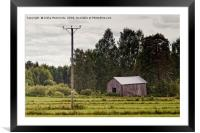 Old Barn By The Power Lines, Framed Mounted Print