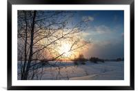 Winter Sunset By The River, Framed Mounted Print