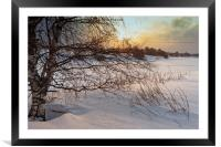Dramatic Sunset Over The Icy River, Framed Mounted Print