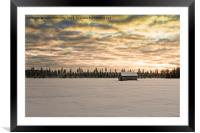 Sunset Over The Snow Covered Fields, Framed Mounted Print