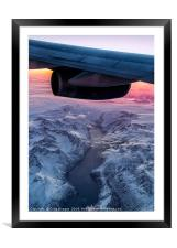 Flying over Greenland at 38000ft, Framed Mounted Print