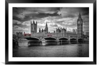 LONDON Houses of Parliament and Red Buses, Framed Mounted Print