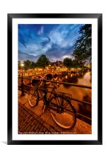 AMSTERDAM Evening impression from Brouwersgracht , Framed Mounted Print