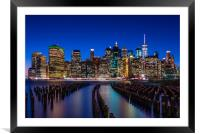 The New York City Skyline at night from DUMBO Broo, Framed Mounted Print