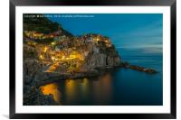 Twilight in Manarola, Framed Mounted Print