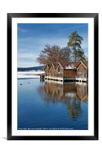 Boathouses on the Frozen Lake, Framed Mounted Print
