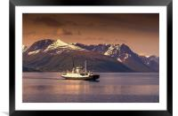 Ferry in Norway, Framed Mounted Print