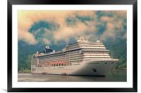 A cruise ship on the Geiranger fjord, Framed Mounted Print