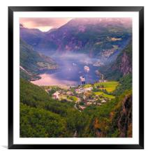 Geiranger in Norway, Framed Mounted Print
