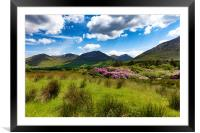 Ireland countryside with green grass and hills , Framed Mounted Print