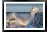 Tynemouth stormy sea!, Framed Mounted Print