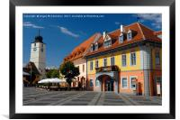 Colourful renovated merchants houses in Sibiu, Framed Mounted Print
