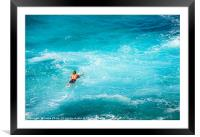 Surfers at the famous Hookipa Beach in the North s, Framed Mounted Print