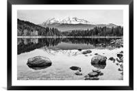 A dramatic view of Mount Shasta from Lake Siskiyou, Framed Mounted Print