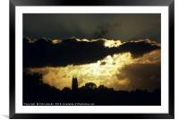 Sunset with St Marychurch, Torquay, England, Framed Mounted Print