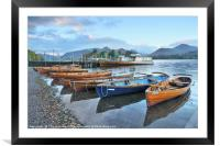 Derwentwater boats at sunrise, Lake District, Framed Mounted Print