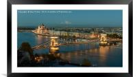 City lights of the Danube and Budapest at sunset,, Framed Mounted Print