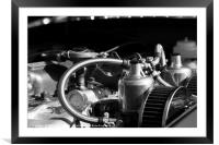 Twin SU Carburettors on a Classic Car Engine, Framed Mounted Print