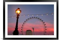 Street Lamp and Millennium Wheel at Sunset, Framed Mounted Print