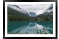landscape blue lake in the mountain, Framed Mounted Print