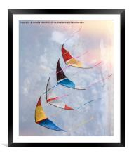 colorful kites flying  in single file in the sky , Framed Mounted Print