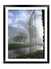 River in the Mist - Poplar Trees and the River Wen, Framed Mounted Print