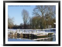 Snow on the Jetty River Wensum Norfolk, Framed Mounted Print
