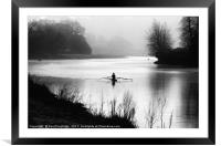 Early Morning Rowers on River Dart, Framed Mounted Print