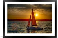 Red Sailed yacht at Sunset, Framed Mounted Print