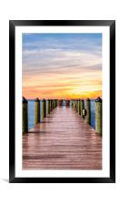Adirondack Chairs at End of Pier, Framed Mounted Print
