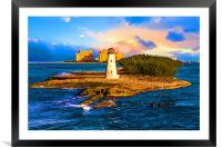 Bahamas Lighthouse with Resort, Framed Mounted Print