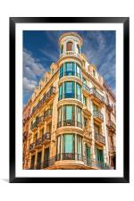 Corner Building with Round Windows, Framed Mounted Print