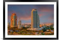 Two Colorful High Rise Tropical Condos, Framed Mounted Print