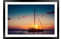 Sailing Sunset in Hawaii 0010, Framed Mounted Print