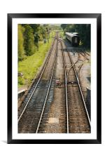 Railway tracks disappearing into the distance, Framed Mounted Print