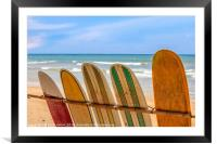 Surfboards for hire, Framed Mounted Print