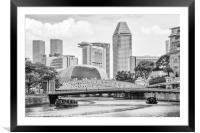 Bum boats on the Singapore river, Framed Mounted Print