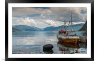 fishing boat in the harbor of Vik, Framed Mounted Print