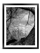 Religious tree in black and white, Framed Mounted Print