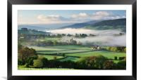 Llanhamlach Old School as an autumn mist rises., Framed Mounted Print