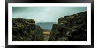 A fissure in Iceland National Park, Framed Mounted Print