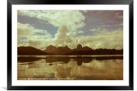 Dramatic cloud/ lake landscape on a hazy day, Framed Mounted Print