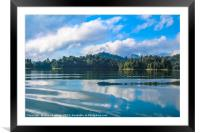 Beautiful lake landscape with jungle covered mount, Framed Mounted Print