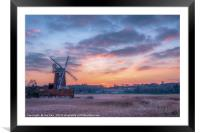 Cley Windmill at Sunset, Framed Mounted Print
