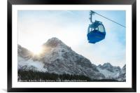 Cable car and snow-capped mountains, Framed Mounted Print